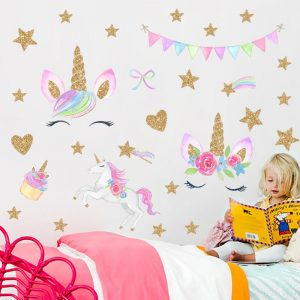 Golden dot unicorn wall sticker living room bedroom wall decoration wall stickers for kids rooms 54