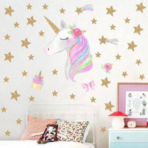 Golden dot unicorn wall sticker living room bedroom wall decoration wall stickers for kids rooms 22