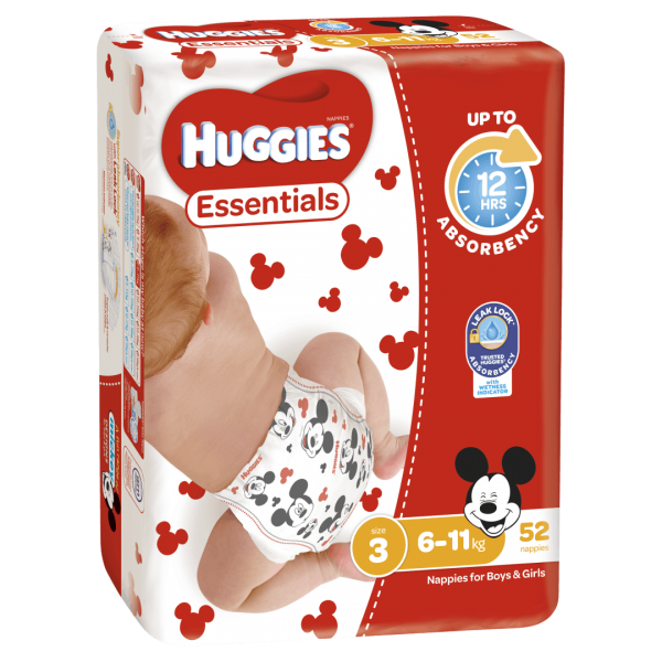 Huggies Essentials Nappies Unisex Size 3 6 11kg 52 Nappies 1