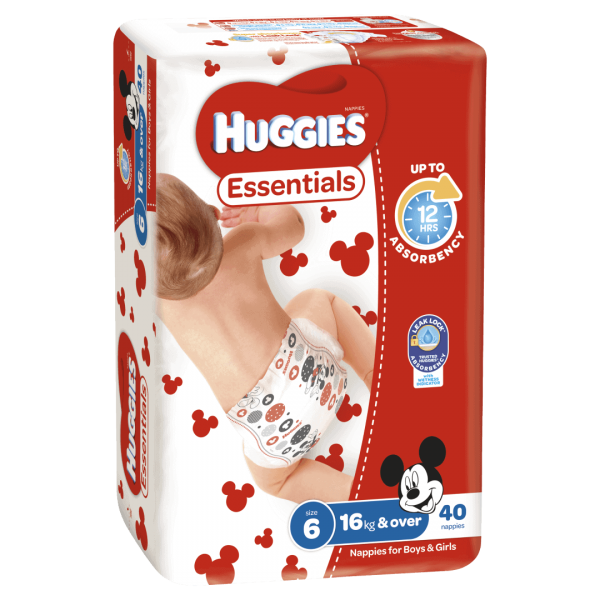 Huggies Essentials Nappies Unisex Size 6 16kg 40 Nappies 1