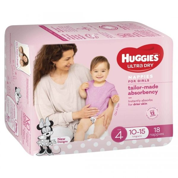 Huggies Ultradry Nappies Toddler Convenience Pixie Box Size 4 Girls 1