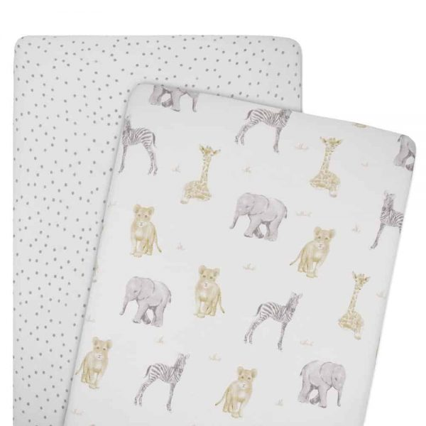 Living Textiles 9109929 2 Pack Jersey Co Sleeper Fitted Sheets Savanna Babies Pitter Patter 0