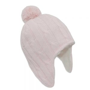 Living Textiles-Cable Knit Sherpa Beanie