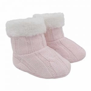 Living Textiles-9500075-Cable Knit Sherpa Booties - Blush Pink 0-6mths-0