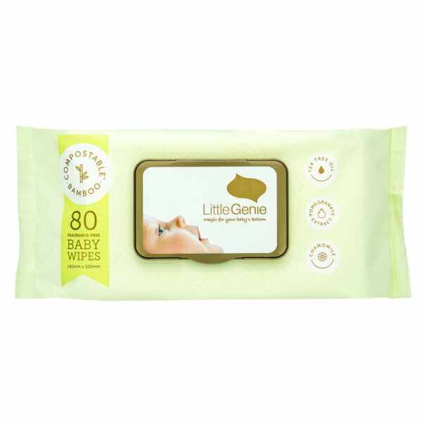 little genie Baby Wipes Compostable Fragrance Free 1