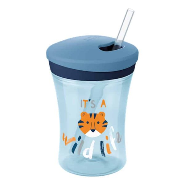 Nuk-action-cup-230ml-with-drinking-straw-blue