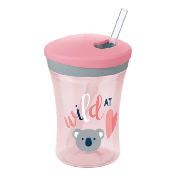 Nuk-action-cup-230ml-with-drinking-straw-pink