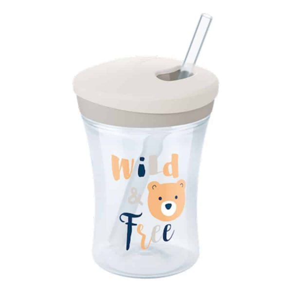 Nuk-action-cup-230ml-with-drinking-straw-white