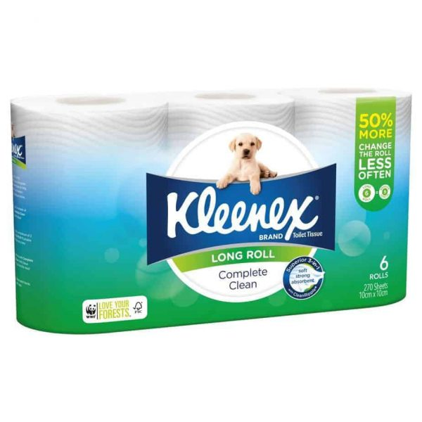 Kleenex Complete Clean Toilet Tissue Long Roll 6 pack, 270 sheets-0