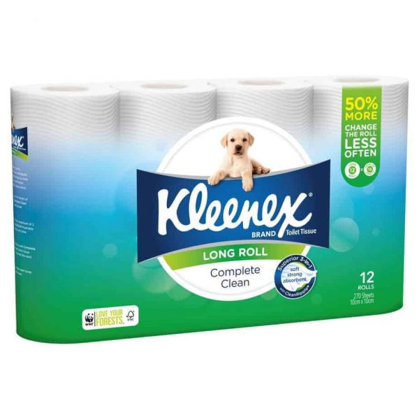 Kleenex Complete Clean Toilet Tissue Long Roll 12 pack, 270 sheets-0