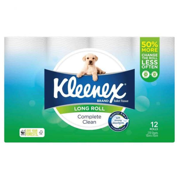 Kleenex Complete Clean Toilet Tissue Long Roll 12 pack, 270 sheets-1933