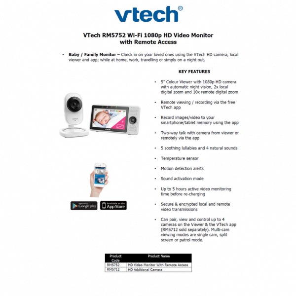 vtech rm5752 monitor with remoteone 92d18