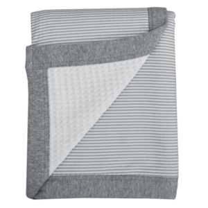 Living Textiles-9610925-Waffle Jersey Cot Blanket - Grey Stripe-0