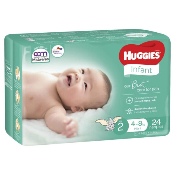 Huggies Infant Nappies Size 2 4 8kg 24 Pack 0