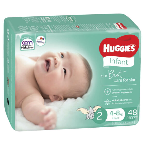 Huggies Infant Nappies Size 2 4 8kg 48 Pack 0