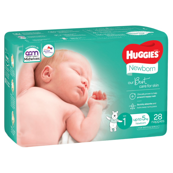 Huggies Newborn Nappies for Boys Girls Size 1 up to 5kg 28 Pack 0 Products