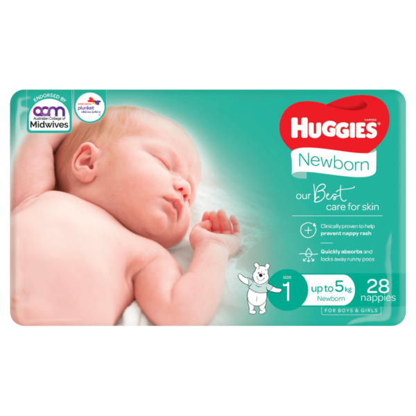 Huggies Newborn Nappies for Boys Girls Size 1 up to 5kg 28 Pack 1 Products