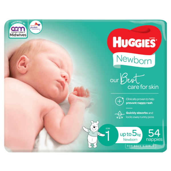 Huggies Newborn Nappies for Boys Girls Size 1 up to 5kg 54 Pack 1