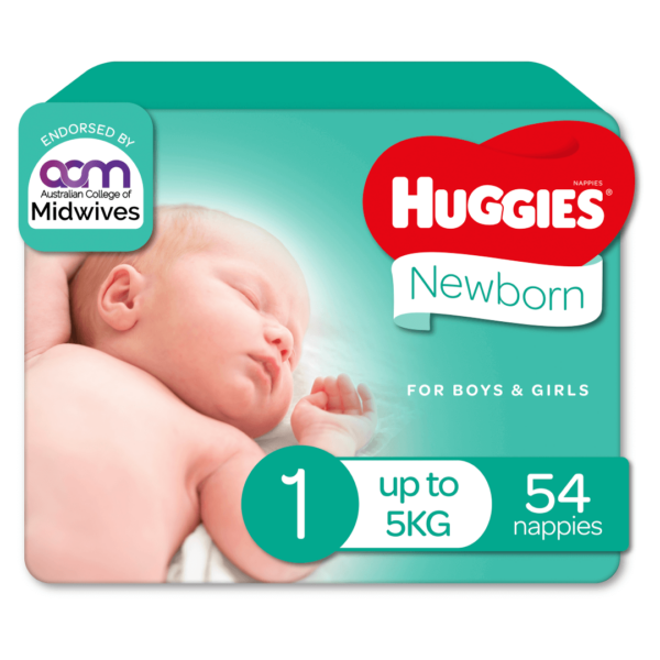 Huggies Newborn Nappies for Boys Girls Size 1 up to 5kg 54 Pack 70