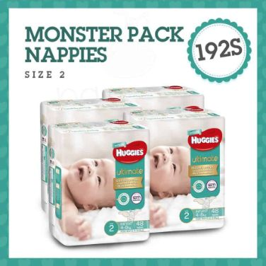 'Monster Box' Huggies Ultimate Nappies Stage 2 Unisex 4-8kg (Infant) 192s-0